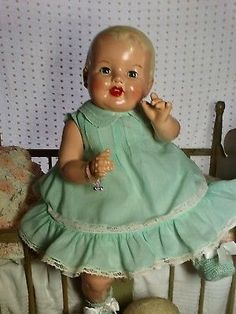 "Big  Beautiful Vintage Antique Composition & Cloth 26"" OOAK Baby Doll"