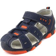 Huge discount on: Children Light-Weight Closed Toe Velcro Flat Beach Sandals