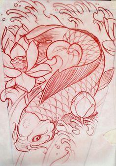Koi Tattoo Design, Tattoo Design Drawings, Tattoo Sketches, Tattoo Designs, Koi Fish Drawing, Koi Fish Tattoo, Fish Drawings, Dibujos Tattoo, Desenho Tattoo