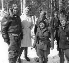 Tito's Partisans assist downed airman Robert W. Glasby at the partisan hospital in Zgornji Hrastnik. : wwiipics
