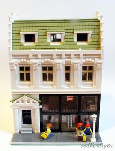 Modular building with Lego store and an apartment.