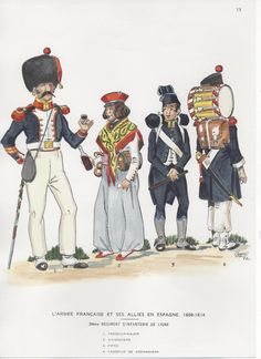 French; 34th line Infantry, Drum-Major, Vivandiere, Fifer & Grenadier Drummer, Spain, 1808-14