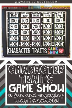 Looking for a unique, engaging way to teach and review character traits?  A fun PowerPoint game show to test prep for ELA state standardized test!  Students will read short passages and determine the trait, whether it is negative or positive!  Perfect for upper elementary ELA.