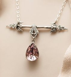 Pink Ice Sterling Silver Victorian Necklace by MyVintageVanity, $65.00