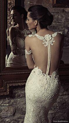 julia kontogruni 2017 bridal long sleeves illusion boat neck deep sweetheart neckline full embellishment sexy sophiscated sheath wedding dress racer back sweep train (6) zbv