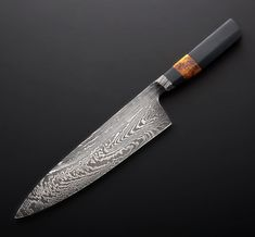 Micarta & Integral Damascus Handmade Chef Knife 215mm forged by Nick Anger.