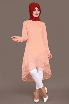 Eteği Dantelli 3'lü Kombin Somon Bell Sleeves, Bell Sleeve Top, Modele Hijab, Cutwork, Ballet Skirt, Tunic Tops, Skirts, Tunics, Designers