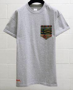 Men's Aztec Pattern, Grey Pocket T-Shirt, Men's T- Shirt, Pocket tee, Unisex, Menswear, UK, Custom Made T - Shirt