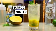 MANGO MOJITO 1 1/2 oz. (45ml) White Rum 1/2 oz. (15ml) Soda Water 1/2 oz. (15ml) Simple Syrup Splash Mango Puree Juice of Half a Lime Mango Chunks Mint Leaves Lime Wedges PREPARATION 1. Add lime wedges and mango chunks to base of glass and drizzle simple syrup on top. Muddle well to release juices. 2. Add mint leaves on top and middle briefly. 3. Fill glass with ice and add rum and mango puree. 4. Top with soda water and garnish. DRINK RESPONSIBLY! Mango Cocktail, Mango Rum, Mango Mojito, Watermelon Mojito, Cocktail Syrups, Mango Puree, Cocktail Night, Vanilla Milkshake