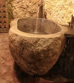 beautiful natural stone bathtub