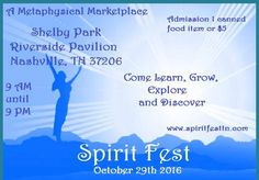 Hi Peeps!  My next event where I will be appearing is Spirit Fest on Sat. Oct 29 at Shelby Park in Nashville TN.  I will be doing angel tarot chakra wellness readings and soul coaching all day!  And I will have crystal jewelry to support your chakras and meditation practices too!  Reading prices are pretty much the lowest they will be ALL year!  Come see me! For more info (and to check out my bio) click here http://ift.tt/2eawgP5