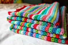 Hello! How are you going today?       I am pretty happy because I have finished my Skinny Stripe blanket!    All those ends are woven i...