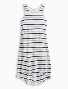 Black-and-white stripes adds everydaycharm to the Girl Mesh Stripe Dress  Easy fit sleeveless dress  Round neckline  Wide shoulder straps  Draped overlay  Shirttail hem