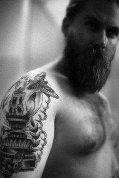 full thick beard and mustache shirtless tattooed man tattoos beards bearded man men handsome #beardsforever