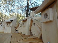 Bird houses made from pallet wood