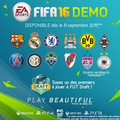 La démo de FIFA 16 sera disponible à partir du 8*septembre sur Xbox One, PlayStation 4, PC, Xbox 360 et PlayStation 3. http://gamezik.fr/?p=5403
