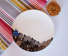 Blue city  decorative plate by ZuppaAtelier on Etsy, $48.00