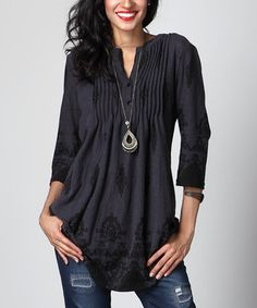 Charcoal Damask Notch Neck Pin Tuck Tunic