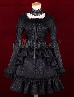 >> Click to Buy << Free shipping! New Arrivals! High quality! Black Satin Square Neck Long Sleeves Ruffles Gothic Lolita Dress #Affiliate