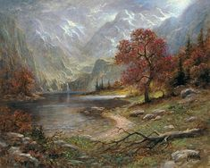 Autumn Heights by Jon McNaughton     autumn, fall time, mountains, waterfall, river, cool autumn air, landscape painting, art