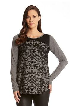 Love Love LOVE! Black and Grey Contrast Color Jacquard Top!
