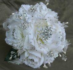 brooch wedding bouquet   Gorgeous White Brooch Wedding Bouquet by ZuDunsEventFlowers
