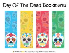 Free printable Day of the Dead bookmarks. Download the PDF template at http://bookmarkbee.com/bookmark/day-of-the-dead/