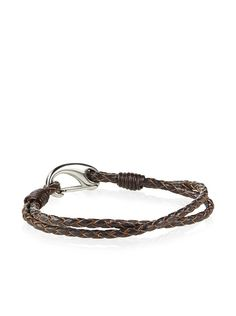 Steeltime Brown Braided Leather Bracelet at MYHABIT