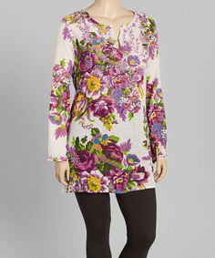 Look what I found on #zulily! Purple Floral Button-Front Tunic - Plus #zulilyfinds