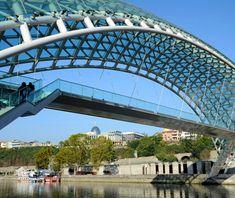 The Bridge of Peace - Tbilisi, Georgia; designed by Michel De Lucchi; opened in 2010; crosses the Mtkvari River