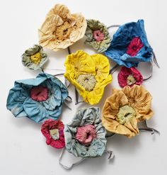 Handmade and dyed statement corsage brooches. (c)hens teeth ... available in my Etsy shop