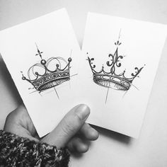 his and her crown tattoo designs , seine und ihre krone tattoo designs , Future Tattoos, New Tattoos, Body Art Tattoos, Tattoo Drawings, Tatoos, Sketch Tattoo, Badass Tattoos, Corona Tattoo, Crown Tattoos For Women