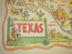 Vintage 1940's Souvenir Tablecloth TEXAS & by unclebunkstrunk, $64.99