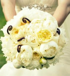 white bouquet with fiddleheads
