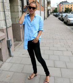 Blue button up - black jeans - sandals