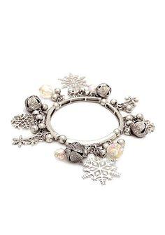 Kim Rogers® Silver-Tone Shaky Snowflake Stretch Bracelet
