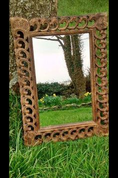 Wooden crafted mirror. Kalicohome.com I Shop, Mirror, Furniture, Home Decor, Mirrors, Home Furnishings, Interior Design, Home Interiors, Decoration Home