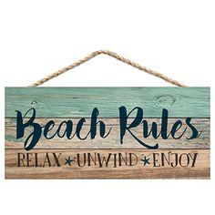 Graham Dunn Beach Rules Relax Unwind Enjoy Weathered 5 x 10 Wood Plank Design Hanging Sign - Beachfront Decor Beach Cottage Style, Coastal Style, Coastal Decor, Coastal Living, Beach Wall Decor, Beach House Decor, Beach House Signs, Outdoor Beach Decor, Pool Signs