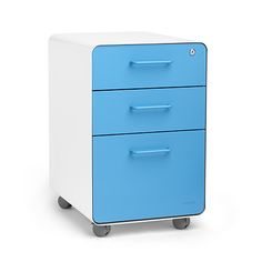 White + Pool Blue Stow 3-Drawer File Cabinet | Poppin