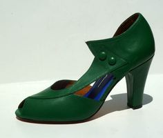Remix Vintage Shoes, Eva D'orsay Peep Toe Heels in Pepper Green Leather