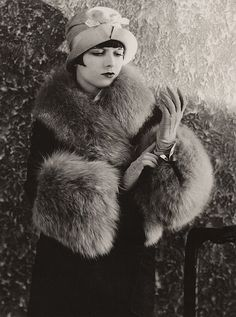 Louise Brooks in BLUE FOX Fur