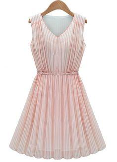 Pink V Neck Sleeveless Pleated Chiffon Dress - Sheinside.com
