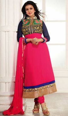 Look beautiful as like as Ayesha Takia donning this pink and blue georgette long churidar suit. The brilliant attire creates a dramatic canvas with terrific floral patch, lace and resham work.  #LatestBollywoodFancyAnarkaliDress