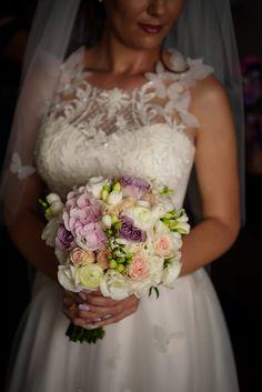 Wedding Flowers  Wedding Bouquet  Buchet Mireasa Trandafiri, Frezii, Hortensie Flower Bouquet Wedding, Lace Wedding, Wedding Dresses, One Shoulder Wedding Dress, Gowns, Bride, Beauty, Women, Fashion