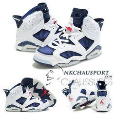 Nike Air Jordan 6 | Classique Chaussure De Basket Homme Blanche Bleu-1