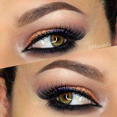 Orange / Copper + Purple eye makeup #eye #makeup #eyeshadow