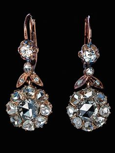 Antique Rose Cut Diamond Earrings, circa 1890, Estimated combined diamond weight 2.67 ct.