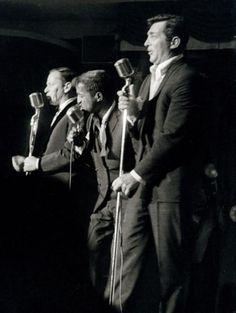 Frank Sinatra, Sammy Davis Jr. and Dean Martin on stage in Las Vegas, 1960s.