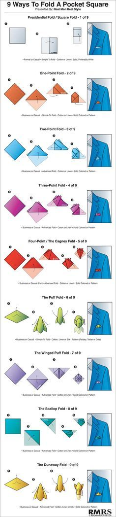 "9 Ways to Fold a Pocket Square Infographic (via <a href=""/antoniocenteno/"" title=""Antonio Centeno"">@Antonio Centeno</a>)"