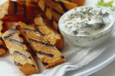Grilled Sweet Potato Sticks with Creamy-Ranch Dip